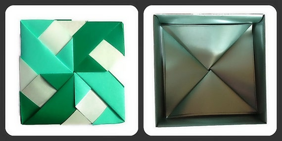 Modular Pinwheel Box: Mint, Dark Green, and Silver By Tomoko Fuse)