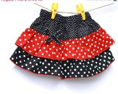 Black and Red Polkadot Skirt, Toddler Skirt, Tiered skirt