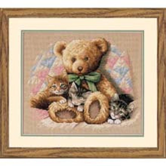 Cross Stitch Kit - Teddy and Kittens