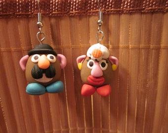 Handmade Polymer Clay Mr & Mrs Potato Head Hook Earrings Hypoallergenic
