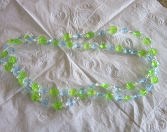 Vintage Light Blue Green & Clear Sparkly Plastic Necklace Wow