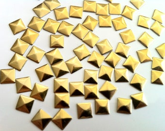 DIY Studs - 60 Gold 10 mm Pyramid Square Studs - Iron On, Hot Fix, or Glue On