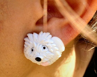 White Fluffy Dog Post Earring