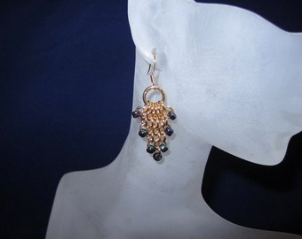 Gold Chainmaille Grape Cluster Earrings