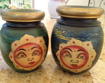 Two Wooden Candleholders Hand-Painted Sun Design   Made in Italy