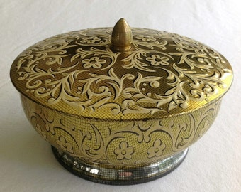 Vintage Daher Tin Lidded & Footed Bowl MADE IN HOLLAND