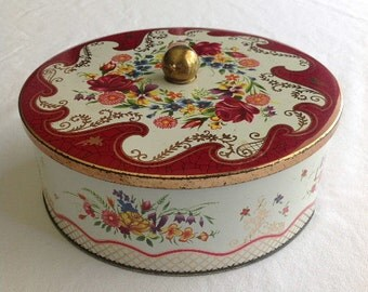 Vintage Daher Round Floral Lidded Tin MADE IN ENGLAND