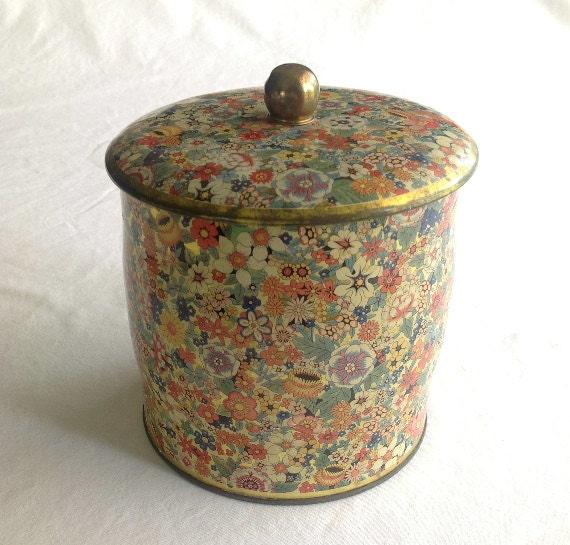 Vintage Daher Tin Floral Lidded Cannister MADE IN ENGLAND