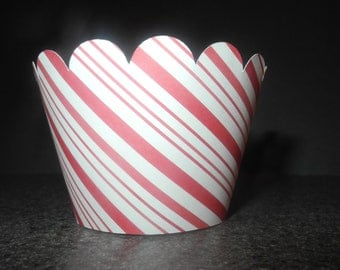 Christmas Candycane Red and White Stripes Cupcake Wrappers. Set of 12