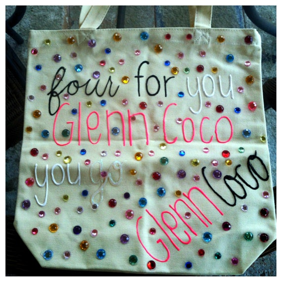 "Mean Girls ""Four for you Glenn Coco"" Rhinestoned Tote"