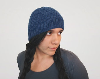 pick your color unisex custom knit textured skullcap -- the shift beanie in denim blue