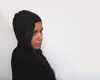custom knit wool free vegan hat -- the shift in dark grey heather or you pick the color