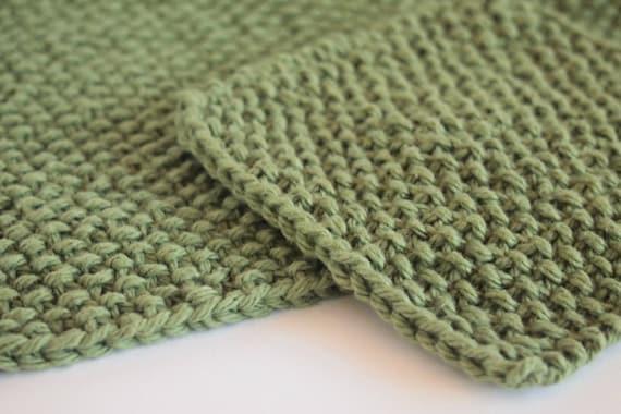 hand knit sage green dishcloth and scrubbie set