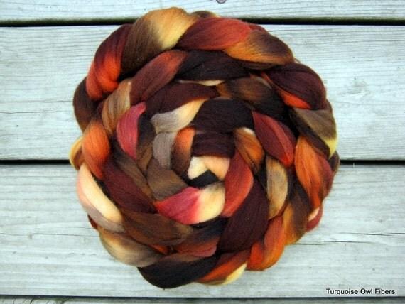 AUTUMN ORCHARD -  4oz. Kettle dyed Merino Roving