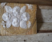 Woven 60's Floral Straw Clutch