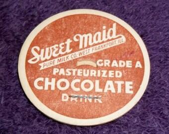 Vintage Sweet Maid Pure Milk Company West Frankfort IL. Chocolate Drink Milk Bottle Lid Cap