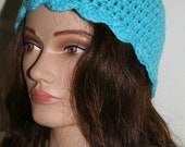 Crochet Cap Scalloped  Edge Ladies or Girls Turquoise - Ready to Ship