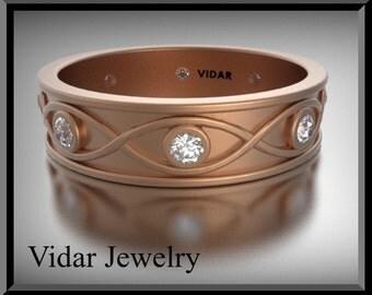 Wedding Band,Wedding Ring,womens diamond wedding band for her,Rose Gold Wedding Band,Unique Wedding Ring,design band 14K gold