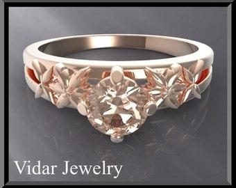 Engagement Ring,Pink Morganite Engagement Ring,Unique Engagement,Solitaire Engagement Ring.Rose gold,custom.Clasic.Flower.