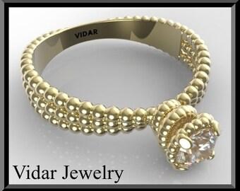 Moissanite Engagement Ring,Solitaire Engagement Ring,Gold Engagement Ring,Spiral engagement Ring,Unique Engagement ring,Custom,Luxury