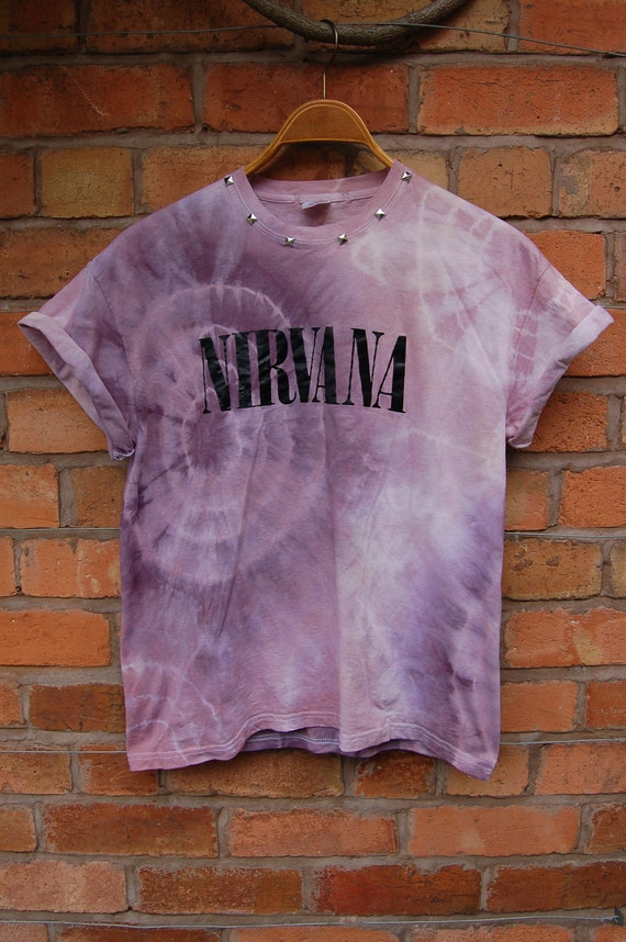 Nirvana Studded Tie Dye T-Shirt L UK sz 6/8/10/12