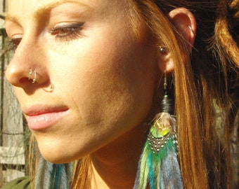 Unique light blue and green ethical feather earrings, gypsy soul, bohemian goddess, pixie princess, festival accessories, gift for her