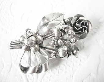 Hobe Sterling Silver Floral Bouquet Brooch
