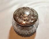 ANTIQUE Gorham Sterling Silver Crystal Powder Jar