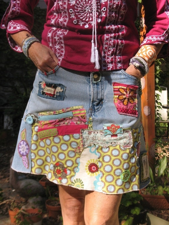 denim hippie jean skirt recycled patchwork