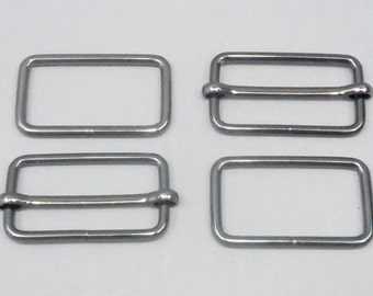 10 Sets 1.5 Inch (38mm) Gunmetal Strap Adjusters and 1.5 Inch (38mm) Rectangle Rings