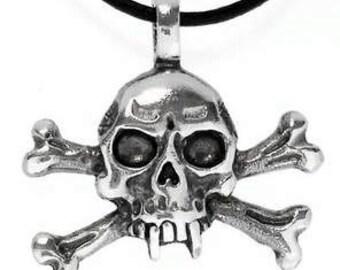Pewter Skull and Crossbones Gothic Pirate Biker Pendant (23E)
