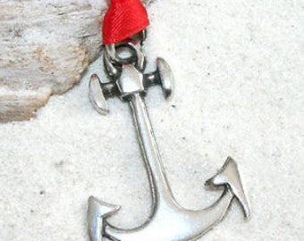 Pewter Anchor Nautical Navy Boat Christmas Ornament and Holiday Decoration (24F)