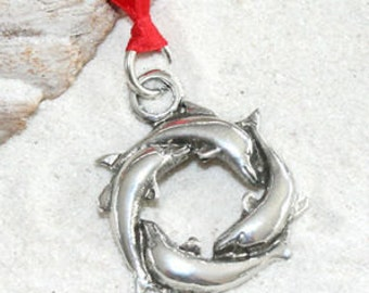 Pewter Dolphin Circle Porpoise Christmas Ornament and Holiday Decoration (32G)