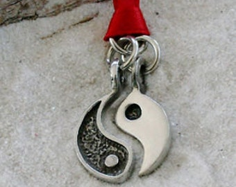 Pewter Yin Yang Chinese Taoism Yoga Namaste Meditation 2 piece Christmas Ornament and Holiday Decoration (54A)