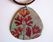 Enameled Copper Pendant Necklace Leaf Print Green and Brown