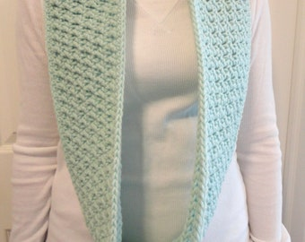 SALE:  Pale Green Infinity Scarf, Crocheted, Women's, Loop Scarf, Crochet Circle Scarf