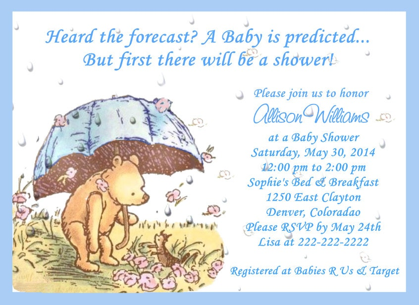 classic pooh umbrella baby shower invitations by babyshowersbykim