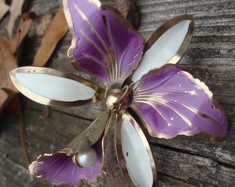 Vintage Lavendar Orchid Flower Brooch Pin