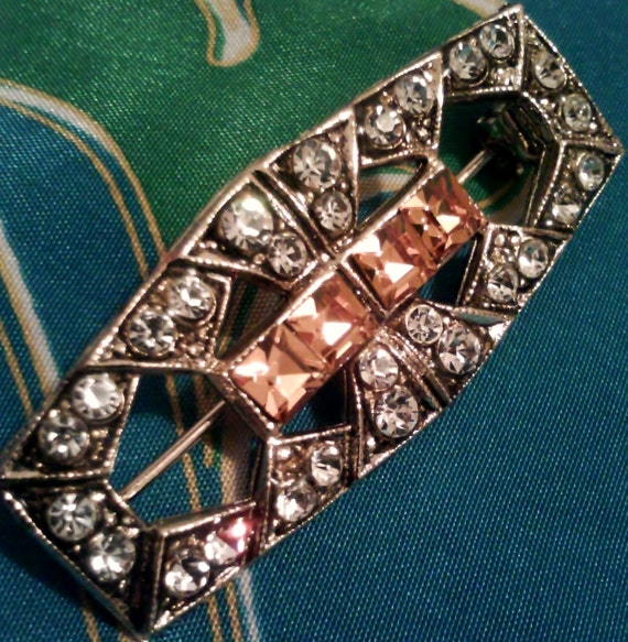Vintage Art Deco Rhinestone Brooch Pin