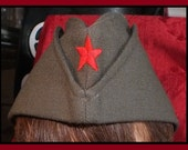"Classic Antique (1983 Vintage Serbian-Russia Eastern European, Cold War era Red Star - Military ""Size 3"" Green Garrison Hat) GOTHIC Chic!"