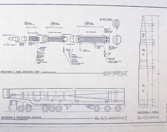 Ellsworth Air Force Base Minute Man II ICBM Blueprint
