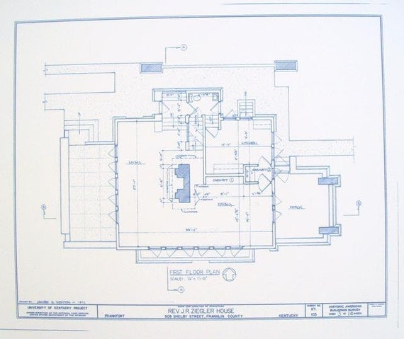 Frank lloyd wright ziegler house floor plan by blueprintplace for Frank lloyd wright floor plans