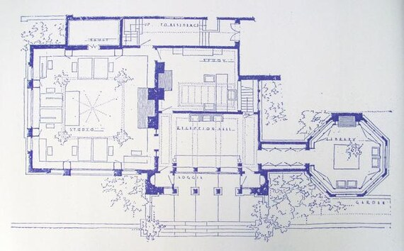 Frank Lloyd Wright Studio Blueprint on Frank Lloyd Wright Falling Water Plans
