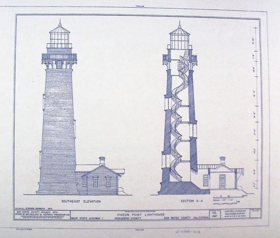 Pigeon Point Lighthouse Blueprint By Blueprintplace On Etsy