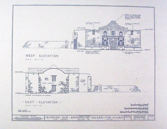 Alamo elevation 2 blueprint by blueprintplace on etsy for Where to buy blueprint paper