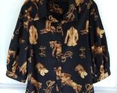 Ralph Lauren Equestrian  Black Horse Print Polo Blouse Shirt size S 1/2 Balloon Sleeve
