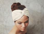 Off White, Turban Twist headband, Plain color collection, yoga headband, HTW-P02