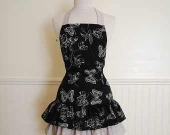 Womans Fitted Full Apron with Black and White Butterflies and 3 Bottom Ruffles