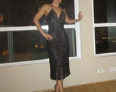 Vintage Samir of California - Sexy Black Metallic Gathered Dress for Cocktail Party - S / M