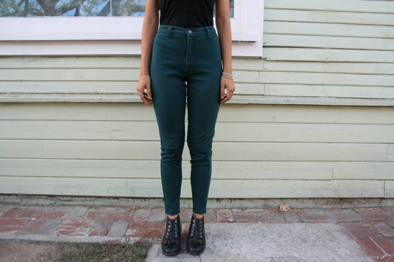 watch LA high waisted forest green skinny jeans